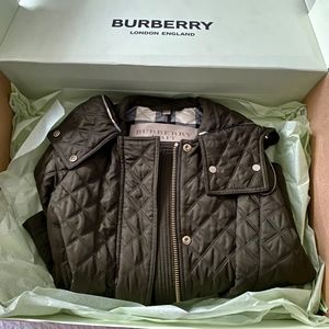 Olive Burberry Leightonbury Quilted Hooded Jacket